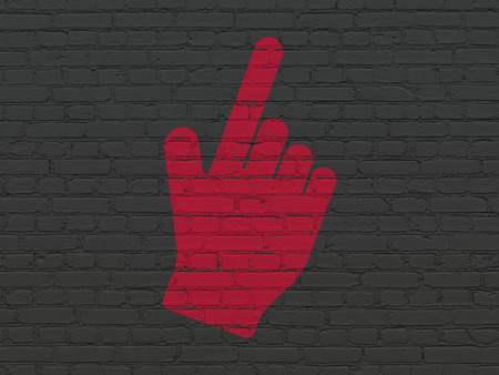 microblog: Social media concept: Painted red Mouse Cursor icon on Black Brick wall background Stock Photo