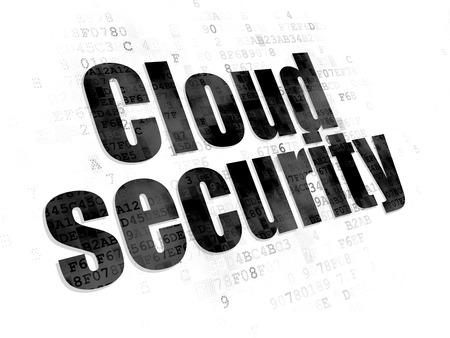 security technology: Cloud technology concept: Pixelated black text Cloud Security on Digital background Stock Photo