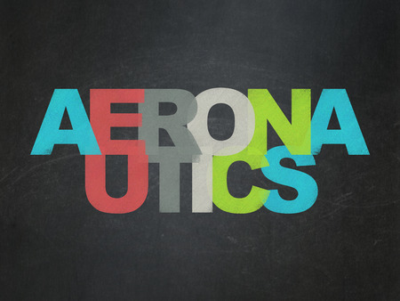aeronautics: Science concept: Painted multicolor text Aeronautics on School Board background Stock Photo