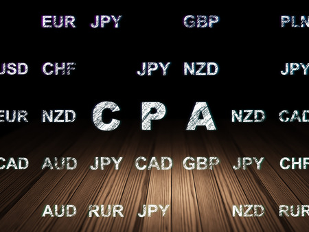 cpa: Finance concept: Glowing text CPA in grunge dark room with Wooden Floor, black background with Currency