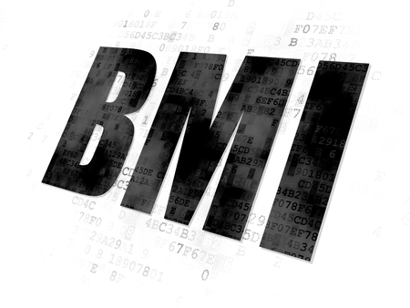 bmi: Medicine concept: Pixelated black text BMI on Digital background