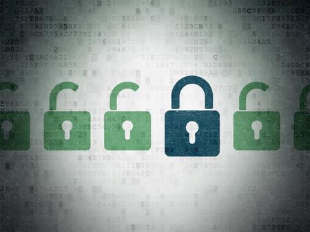 Concept de sécurité: rangée de vert peint ouvert icônes de cadenas autour bleu fermé icône de cadenas sur le papier numérique fond