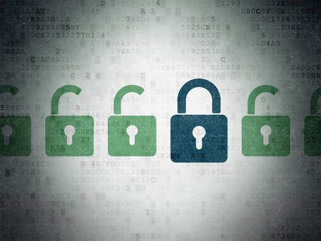 Security concept: row of Painted green opened padlock icons around blue closed padlock icon on Digital Paper background