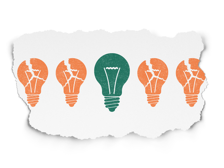 broken strategy: Business concept: row of Painted orange light bulb icons around green light bulb icon on Torn Paper background
