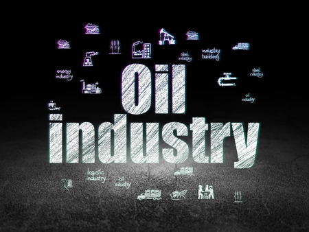 dirty room: Manufacuring concept: Glowing text Oil Industry,  Hand Drawn Industry Icons in grunge dark room with Dirty Floor, black background Stock Photo