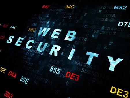 hexadecimal: Web development concept: Pixelated blue text Web Security on Digital wall background with Hexadecimal Code Stock Photo