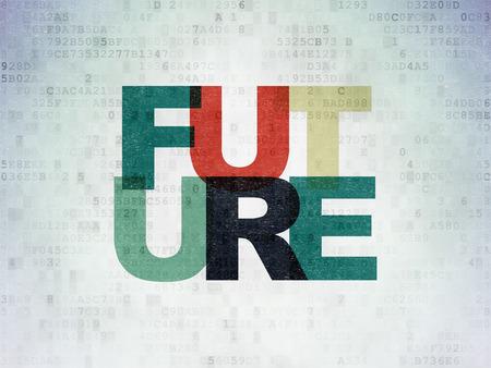 cronologia: Concepto de tiempo: Pintadas texto multicolor futuro sobre fondo de papel digital