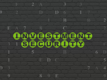 investment security: Protection concept: Painted green text Investment Security on Black Brick wall background with Hexadecimal Code Stock Photo