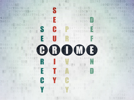 crime solving: Safety concept: Painted black word Crime in solving Crossword Puzzle on Digital Paper background