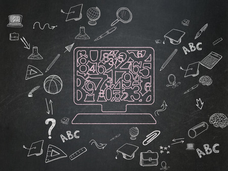 computer education: Education concept: Chalk Pink Computer Pc icon on School Board background with Scheme Of Hand Drawn Education Icons Stock Photo