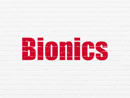 bionics: Science concept: Painted red text Bionics on White Brick wall background