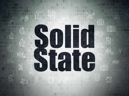 solid state: Science concept: Painted black text Solid State on Digital Paper background with  Hand Drawn Science Icons
