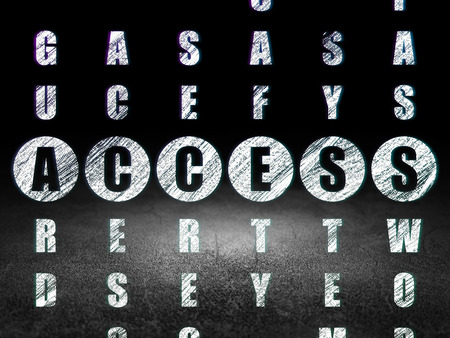 room access: Privacy concept: Glowing word Access in solving Crossword Puzzle in grunge dark room with Dirty Floor, black background