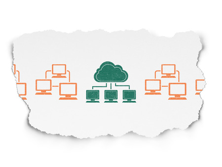 lan: Cloud technology concept: row of Painted orange lan computer network icons around green cloud network icon on Torn Paper background