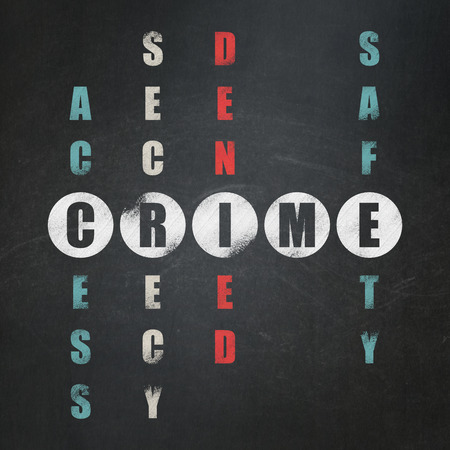 crime solving: Safety concept: Painted white word Crime in solving Crossword Puzzle on School Board background