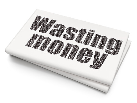 wasting: Banking concept: Pixelated  text Wasting Money on Blank Newspaper background Stock Photo