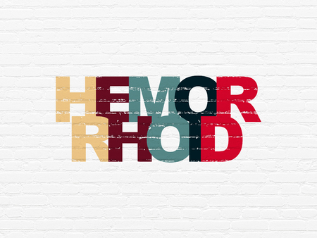 hemorrhoid: Medicine concept: Painted multicolor text Hemorrhoid on White Brick wall background Stock Photo