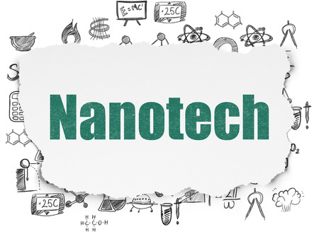 nanotech: Science concept: Painted green text Nanotech on Torn Paper background with  Hand Drawn Science Icons