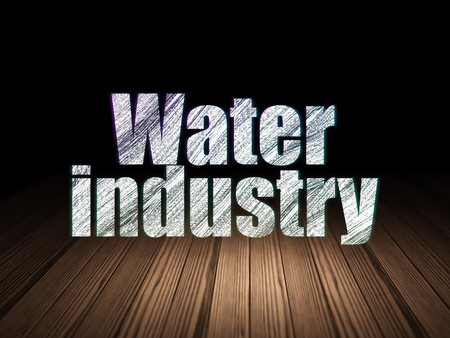 text room: Industry concept: Glowing text Water Industry in grunge dark room with Wooden Floor, black background