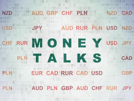 conversa: Concepto de las finanzas: Pintado verdes Money Talks texto sobre fondo de papel digital con moneda