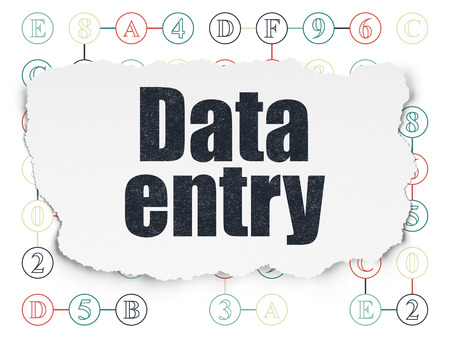 data entry: Information concept: Painted black text Data Entry on Torn Paper background with Scheme Of Hexadecimal Code