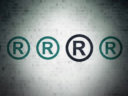r regulation: Law concept: row of Painted blue registered icons around black registered icon on Digital Paper background Stock Photo