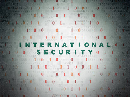 international security: Safety concept: Painted green text International Security on Digital Paper background with Binary Code