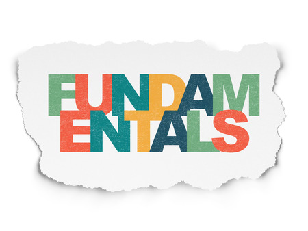 fundamentals: Science concept: Painted multicolor text Fundamentals on Torn Paper background