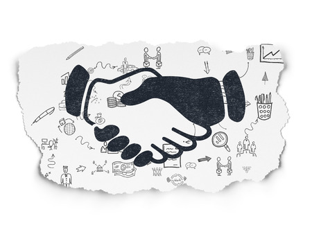 black handshake: Finance concept: Painted black Handshake icon on Torn Paper background with Scheme Of Hand Drawn Business Icons