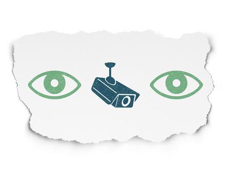 eye green: Concepto de protecci�n: fila de pintadas iconos de ojo verdes alrededor icono de c�mara azul cctv en el fondo de papel rasgado