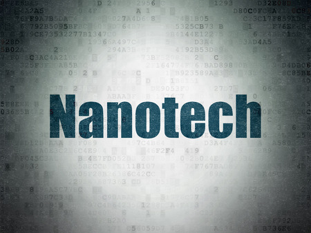 nanotech: Science concept: Painted blue word Nanotech on Digital Paper background
