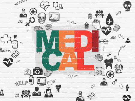 healing process: Healthcare concept: Painted multicolor text Medical on White Brick wall background with Scheme Of Hand Drawn Medicine Icons
