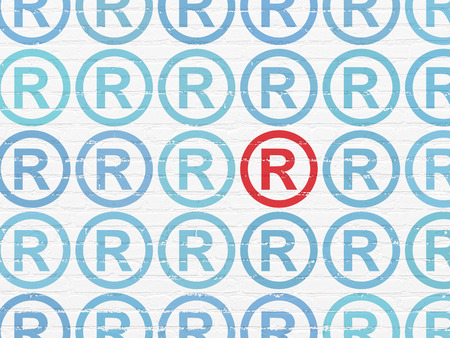 r regulation: Law concept: rows of Painted blue registered icons around red registered icon on White Brick wall background