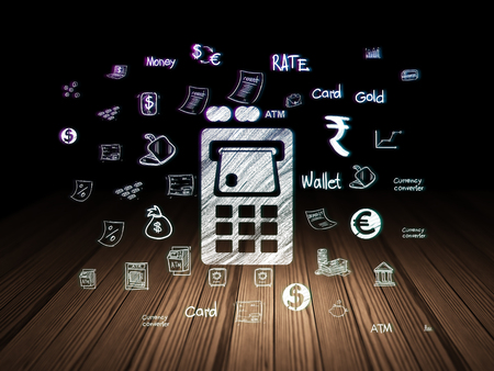 cash machine: Currency concept: Glowing ATM Machine icon in grunge dark room with Wooden Floor, black background with  Hand Drawn Finance Icons