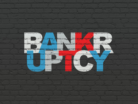 Law concept: Painted multicolor text Bankruptcy on Black Brick wall background Banco de Imagens