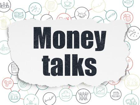 conversaciones: Concepto de las finanzas: Pintadas texto negro Money Talks sobre fondo de papel rasgado con el Esquema de Hand Drawn iconos de negocios