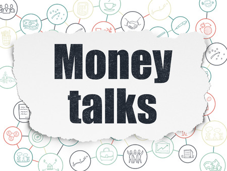 talks: Finance concept: Painted black text Money Talks on Torn Paper background with Scheme Of Hand Drawn Business Icons