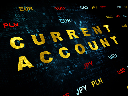 current account: Banking concept: Pixelated yellow text Current Account on Digital wall background with Currency Stock Photo