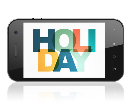 holiday display: Tourism concept: Smartphone with Painted multicolor text Holiday on display