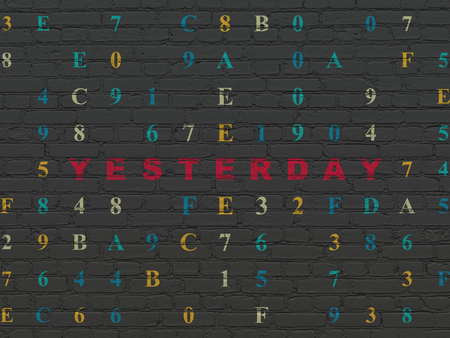 yesterday: Time concept: Painted red text Yesterday on Black Brick wall background with Hexadecimal Code