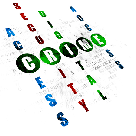 crime solving: Safety concept: Pixelated green word Crime in solving Crossword Puzzle on Digital background