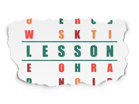 word lesson: Education concept: Painted green word Lesson in solving Crossword Puzzle on Torn Paper background