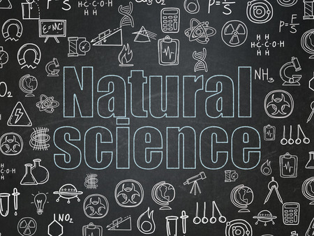 natural science: Science concept: Chalk Blue text Natural Science on School Board background with  Hand Drawn Science Icons Stock Photo