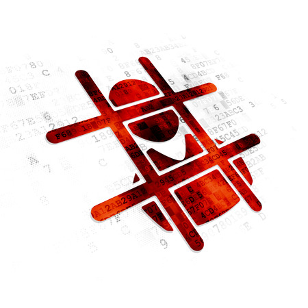 cyber defence: Law concept: Pixelated red Criminal icon on Digital background