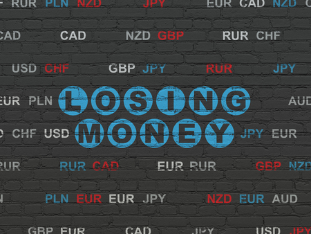 losing money: Currency concept: Painted blue text Losing Money on Black Brick wall background with Currency Stock Photo