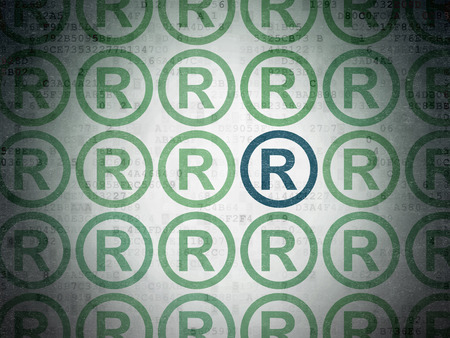 r regulation: Law concept: rows of Painted green registered icons around blue registered icon on Digital Paper background