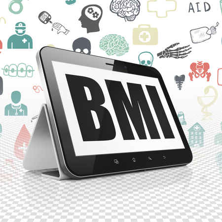bmi: Healthcare concept: Tablet Computer with  black text BMI on display,  Hand Drawn Medicine Icons background