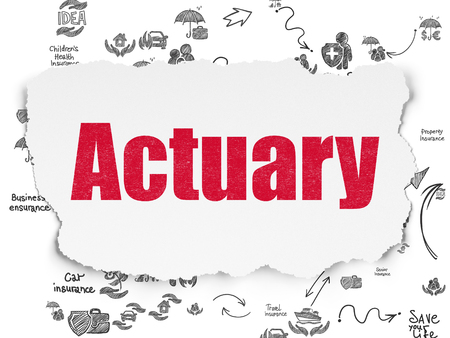 actuary: Insurance concept: Painted red text Actuary on Torn Paper background with Scheme Of Hand Drawn Insurance Icons Stock Photo