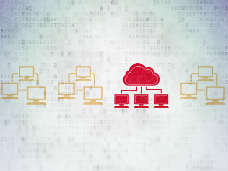 lan: Cloud networking concept: row of Painted yellow lan computer network icons around red cloud network icon on Digital Paper background Stock Photo
