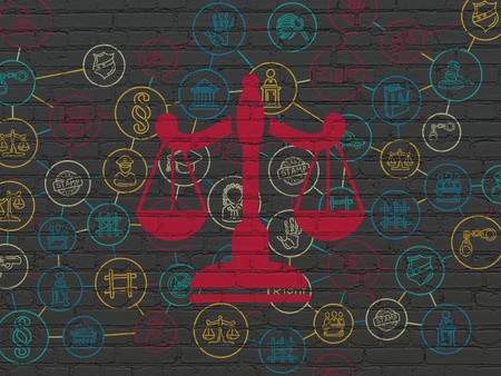 court process: Law concept: Painted red Scales icon on Black Brick wall background with Scheme Of Hand Drawn Law Icons